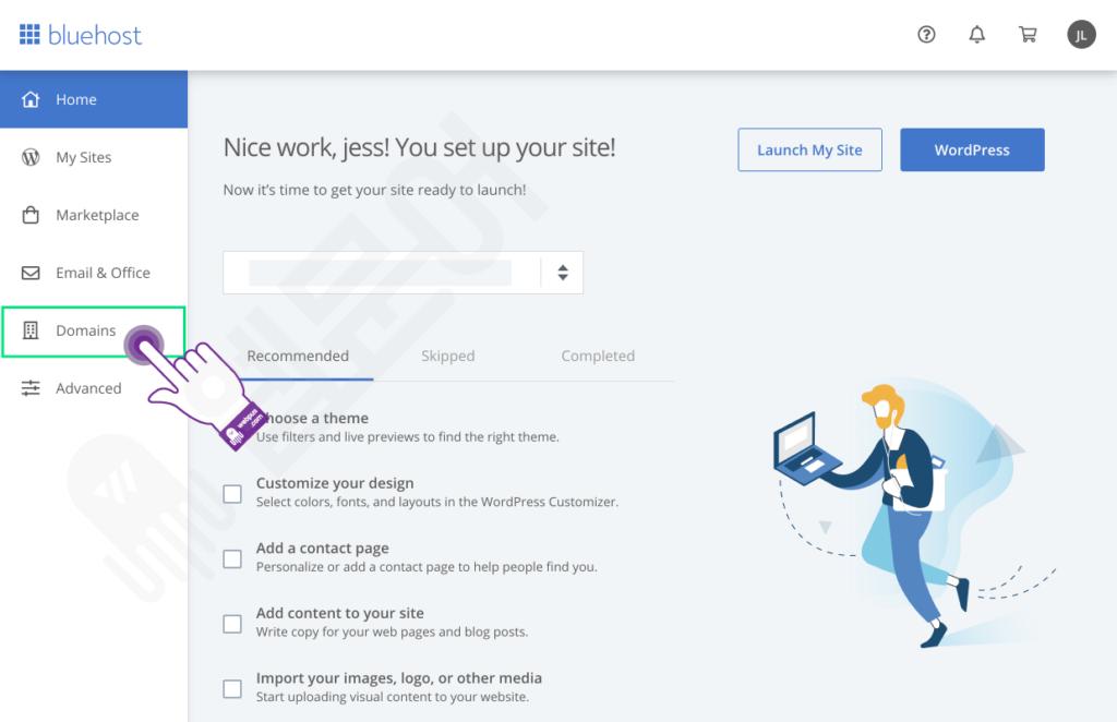 블루호스트에서 새 도메인 추가 및 사이트 만들기 STEP 1