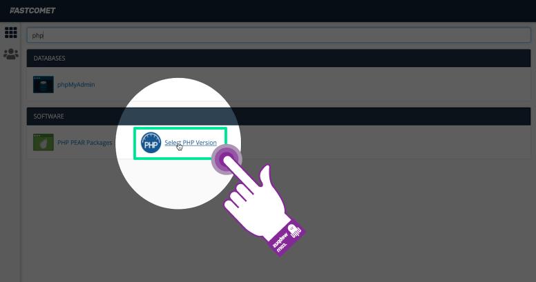 PHP 버전 변경 옵션 클릭하기