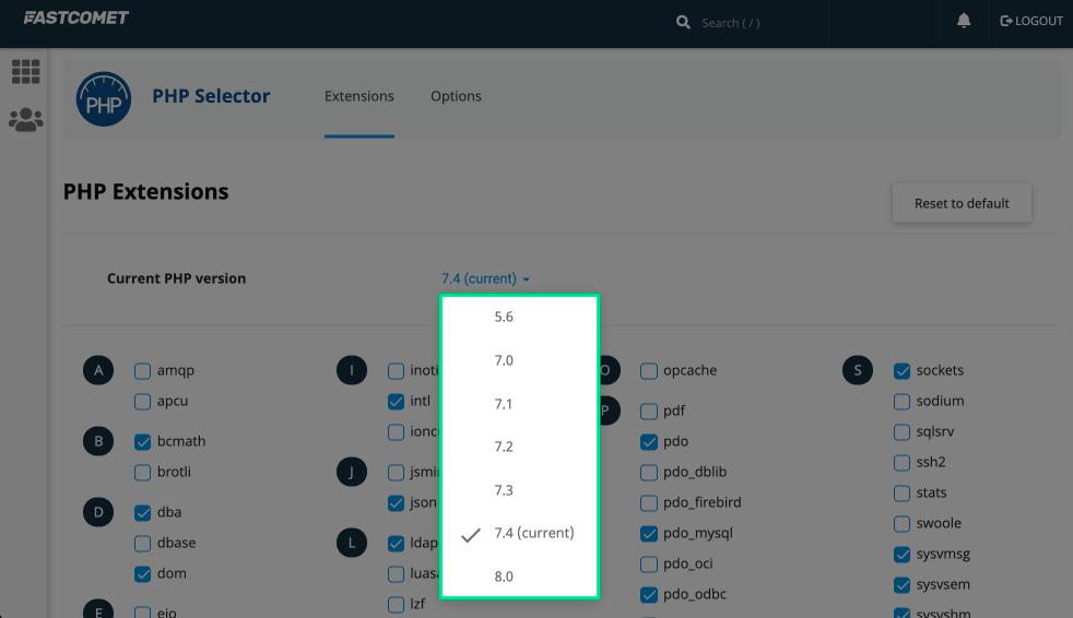PHP 버전 변경 옵션