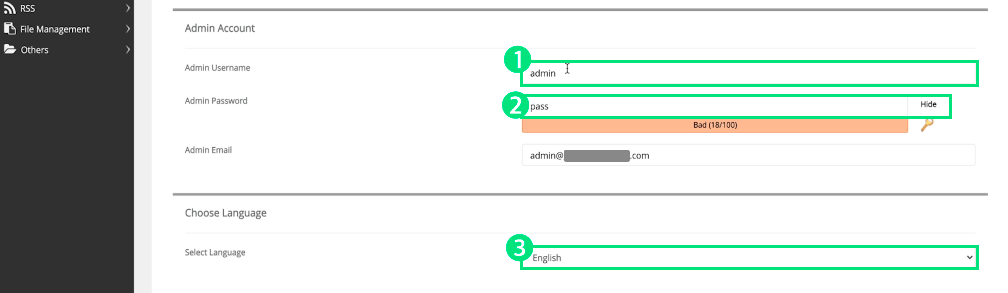 워드프레스 관리자 계정 정보 설정 및 언어 선택